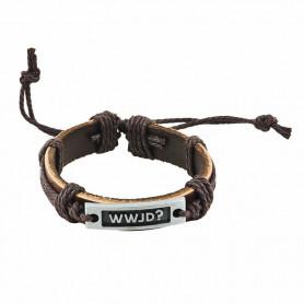 Bracelet en cuir brun avec plaque métal WWJD - 6055 - Praisent
