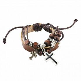 Bracelet en cuir marron avec breloques Croix - 6056 - Praisent