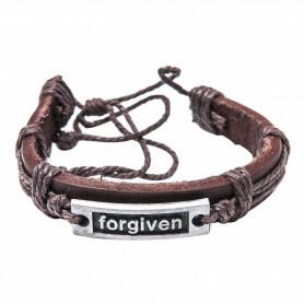 Bracelet en cuir brun avec plaque métal Forgiven - 6064 - Praisent
