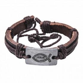 Bracelet en cuir brun avec plaque métal Ichthus/Jesus - 6065 - Praisent