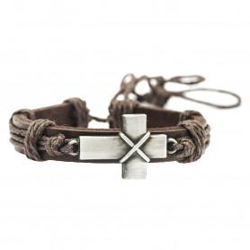 Bracelet en cuir brun avec croix en métal - 6066 - Praisent