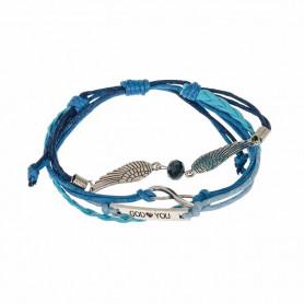 Bracelet cuir bleu ailes en métal et gourmette God loves You - 6086