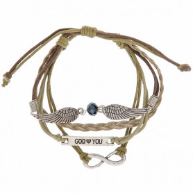 Bracelet cuir beige ailes en métal et gourmette God loves You - 6087