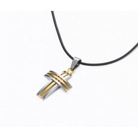 Pendentif croix 3 bandes - argenté et doré, cordon cuir 50cm – 6767