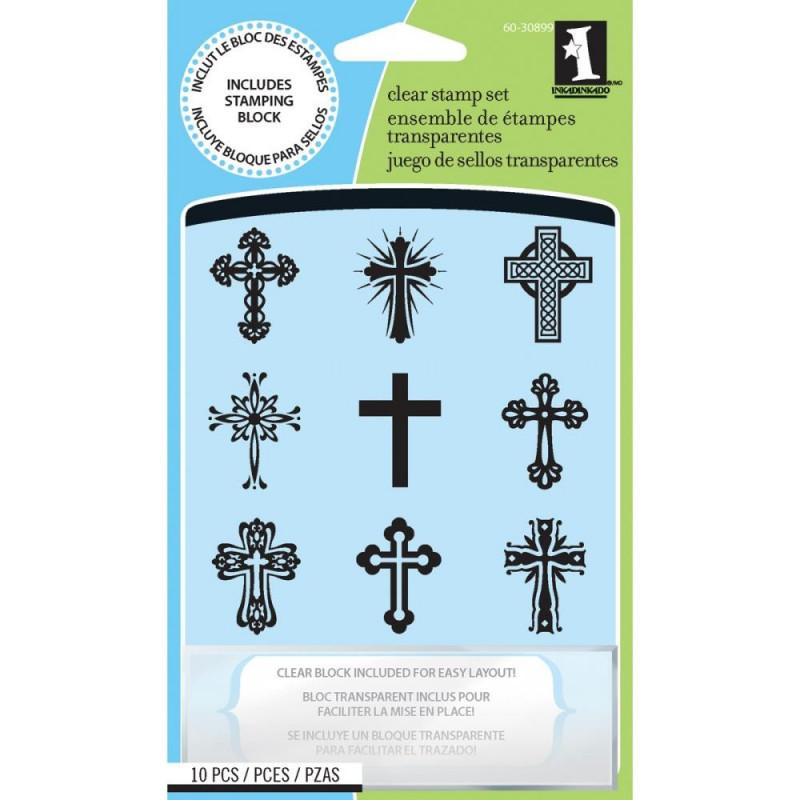 Tampons Croix 9 pc & bloc - Inkadinkado Clear Stamps Crosses