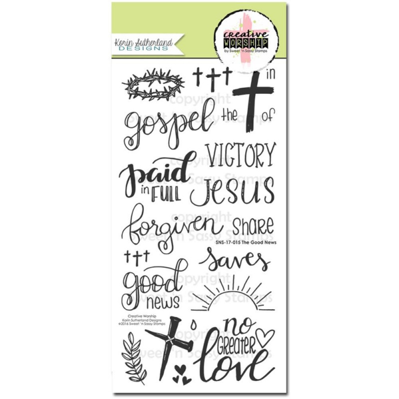 Tampons The Good News 21 pc - Sweet 'n Sassy Creative Worship Clear Stamps