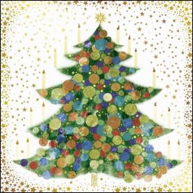 Carte double Sapin décoré - feuillet séparé Luc 2.10