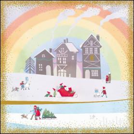 Carte double Maisons neige - feuillet séparé Psaume 103.2
