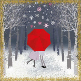 Carte double Couple sous la neige - feuillet séparé Psaume 103.2