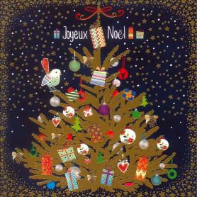 Carte double Sapin cadeaux - feuillet séparé Jean 3.16