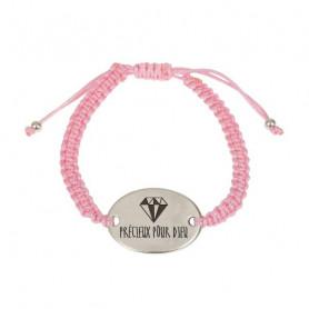 Bracelet tressé rose avec médaillon métal Précieux pour Dieu - 76073