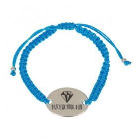 Bracelet tressé turquoise avec médaillon métal Précieux pour Dieu - 76074