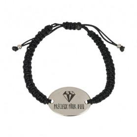 Bracelet tressé noir avec médaillon métal Précieux pour Dieu - 76075