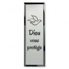 Tableau Miroir Dieu vous protège - 5x14 cm - 76137