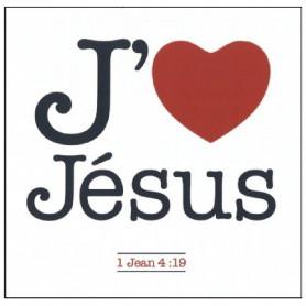 Magnet J'aime Jésus en métal rigide 6x6 cm