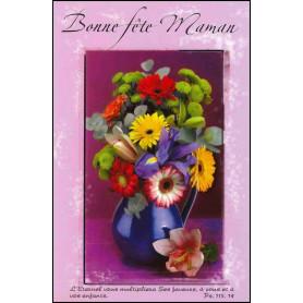 Carte double Bonne fête maman - Fleurs - Ps 115.14