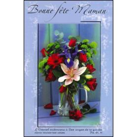 Carte double Bonne fête maman - Fleurs - Ps 91.11