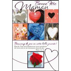 Carte double Bonne fête maman - Coeurs - Rom 15.13