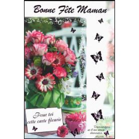 Carte double Bonne fête maman - Fleurs - Matth 7.7