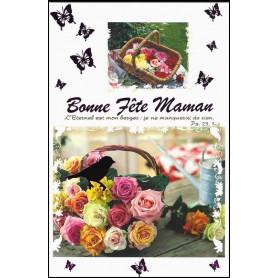 Carte double Bonne fête maman - Panier de fleurs - Ps 23.1