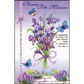 Carte double Bonne fête maman - Fleurs - Ps 100.5