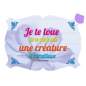 Cadre en bois Je te loue - Ps 139.14 - 27x19 cm - Tranche Bleu lavandin
