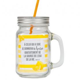 Tasse à boire avec couvercle et paille jaune - 5292