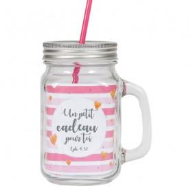 Tasse à boire avec couvercle et paille rose - 5290