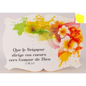 Cadre en bois Que le Seigneur dirige vos cœurs - 2Th 3.5 - 27x19 cm - Bord Jaune soleil d'or