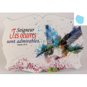 Cadre en bois Seigneur tes œuvres sont admirables - Ps 139.14 - 27x19 cm - Bord Bleu rêveur