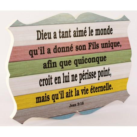 Cadre en bois Dieu a tant aimé le monde - Jean 3.16 - 27x19 cm - Bord Blanc