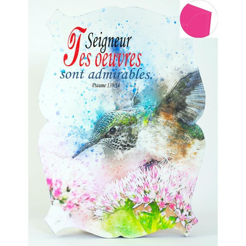 Cadre en bois Seigneur tes œuvres sont admirables - Ps 139.14 - 19x27 cm - Bord Rose blush