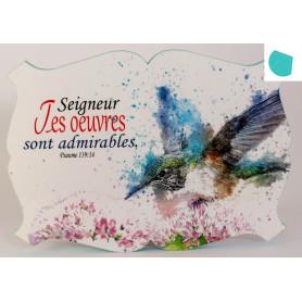 Cadre en bois Seigneur tes œuvres sont admirables - Ps 139.14 - 27x19 cm - Bord Bleu topaze