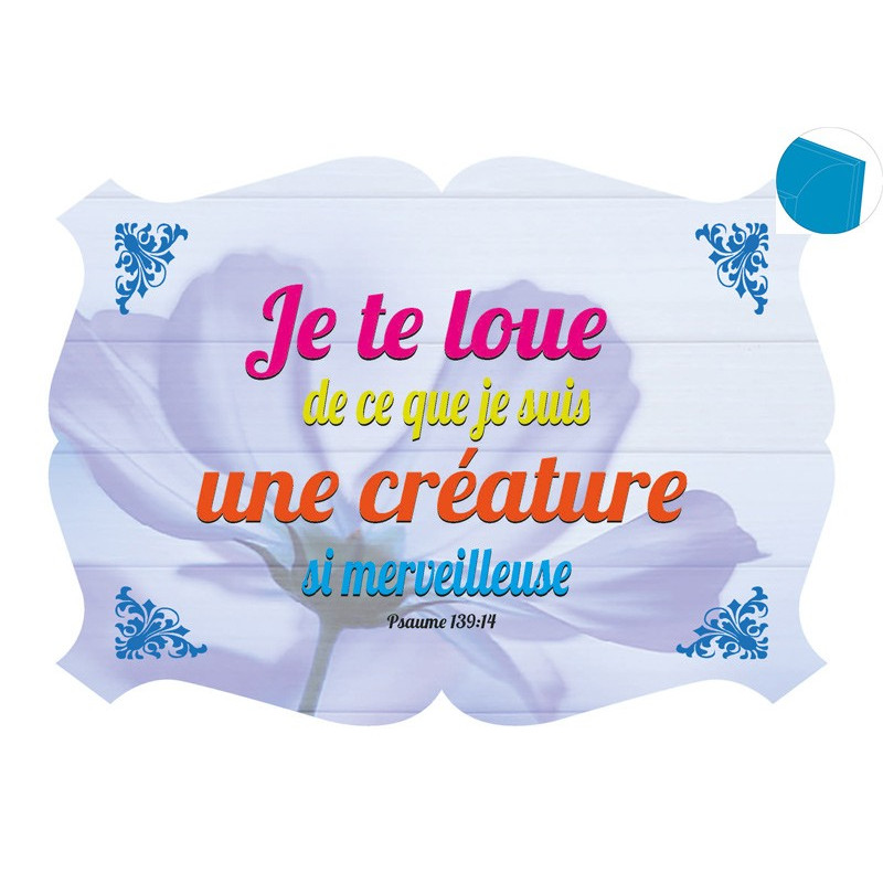 Cadre en bois Je te loue - Ps 139.14 - 27x19 cm - Bord Bleu des îles