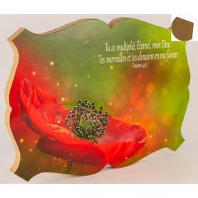 Cadre en bois Tu as multiplié, Eternel mon Dieu - Ps 40.5 - 27x19 cm - Bord Marron havana