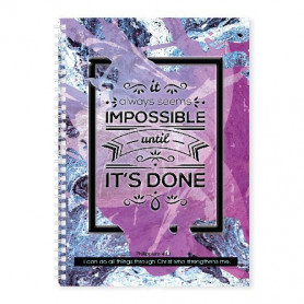 Carnet de notes It always seems impossible until it's done - 81701