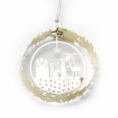 Déco en métal à suspendre Nativité 5 cm - 5089