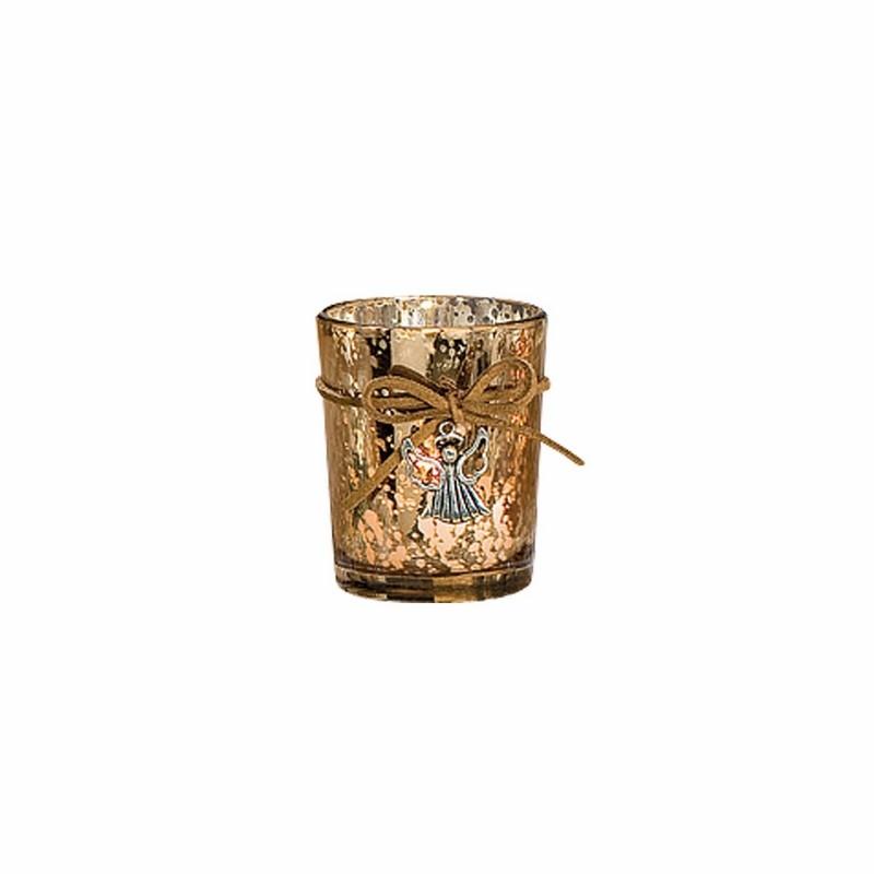 Bougeoir en verre brillant argenté déco ange - 5207