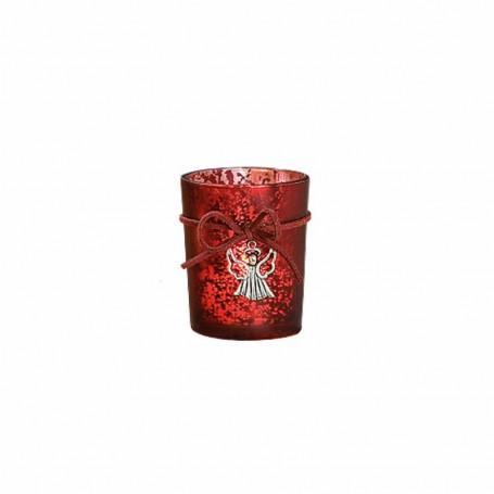 Bougeoir en verre mat rouge déco ange - 5207-2