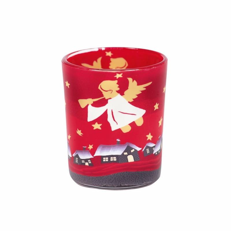 Bougeoir en verre rouge décor ange - 5263