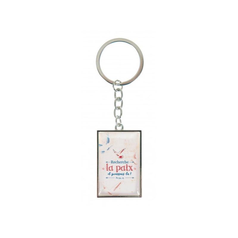 Porte-clés Recherche la paix et poursuis-la - 8666