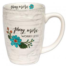 Mug sculpté Pray more, worry less
