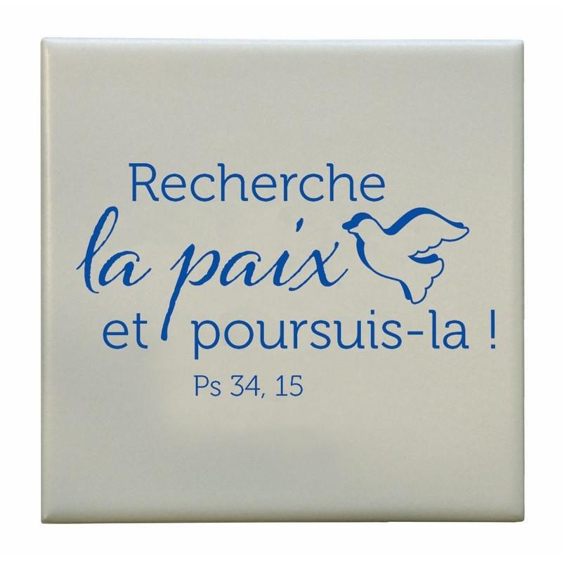 Céramique Recherche la paix – Ps.34.15 – 10x10 cm sans cadre - 74226