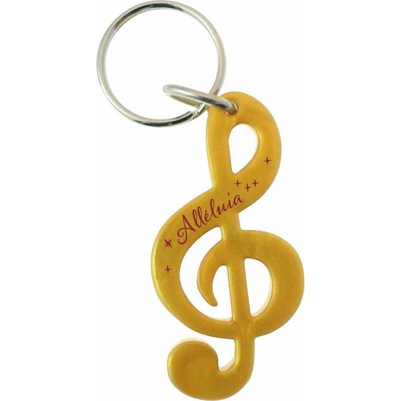 Porte-clés Clé de sol Alléluia doré – 73009 - Uljo