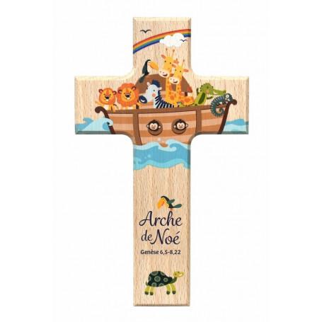 Croix en bois Arche de Noé 9x15cm– 72580