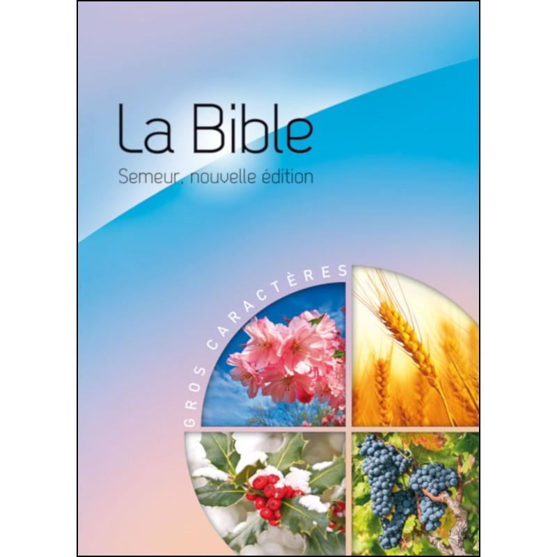 Bible Semeur gros caractères rigide bleue et rose illustrée