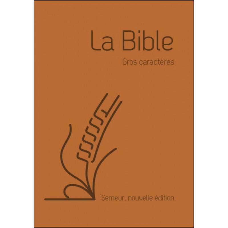Bible Semeur gros caractères souple marron tranche blanche
