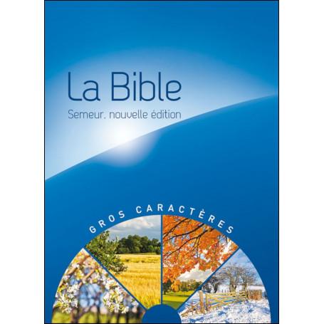 Bible Semeur gros caractères rigide bleue illustrée