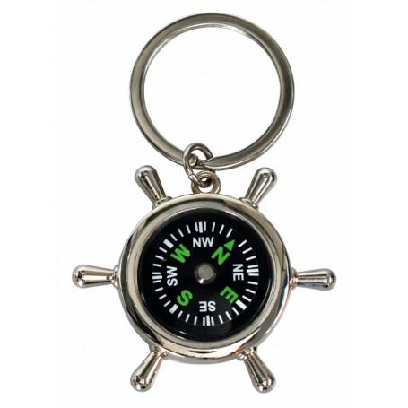 Porte-clés métal gouvernail avec boussole Dieu est avec toi – 72928 - Uljo