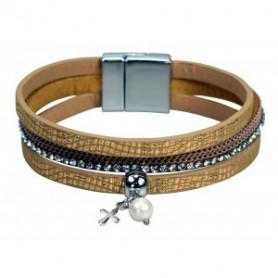 Bracelet 3 bandes simili cuir pendentif croix et perle - doré/beige - 752669 - Uljo